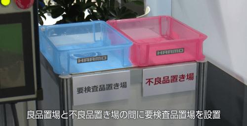 取り出しロボットと成形周辺機器のトータルリンクによる良品不良品仕分け|成形品の不良品置き場とは別に要検査置き場を設置
