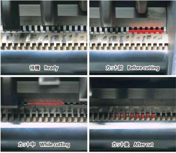 ハーモ粒断機|独自の「スイング・プレス・カット方式」の図解