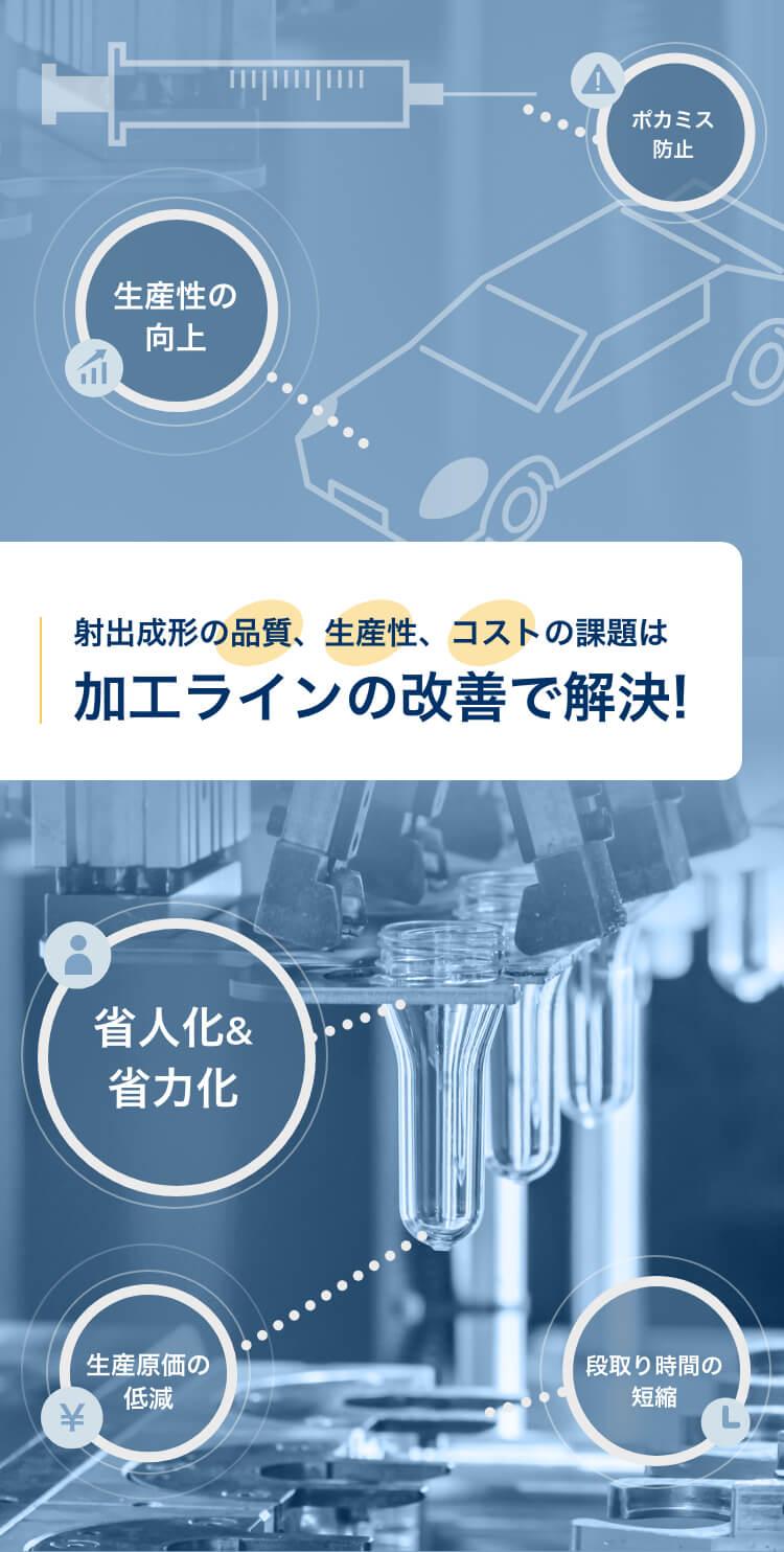 周辺機器で射出成形の生産工程を改善|射出成形の自動化・省人化・不良対策に貢献